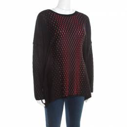 M Missoni Black Patterned Dobby Knit Boxy Sweater Top M 195659