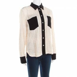 See By Chloe Cream Lace Overlay Contrast Patch Pocket Button Front Shirt L 195723
