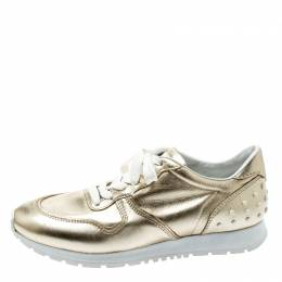 Tod's Metallic Gold Leather Allaciata Studded Lace Up Sneakers Size 39 195456