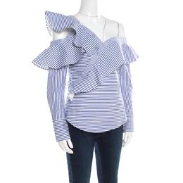 Self-Portrait Blue and White Striped Ruffle Detail Off Shoulder Asymmetric Shirt S 223518