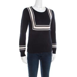 Chloe Navy Blue Wool Contrast Striped Trim Detail Sweater XS 195904