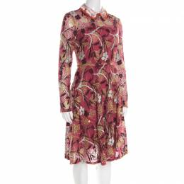 Valentino Multicolor Floral Embroidered Tulle Lurex Detail Long Sleeve Dress S 195925