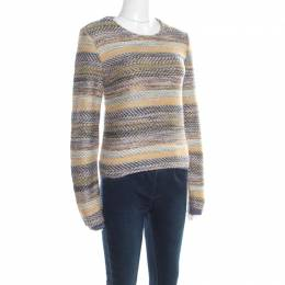 Chloe Multicolor Striped Chunky Knit Sweater S 195898