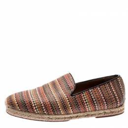 Christian Louboutin Multicolor Woven Leather Relax Espadrilles Size 41