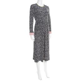 Max Mara Navy Blue Dot Printed Silk Long Sleeve Culotte Jumpsuit M