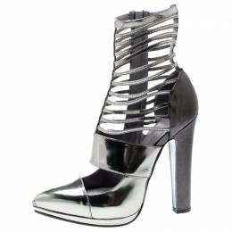 Versace Metallic Silver Leather Pointed Toe Cage Pumps Size 40 195909
