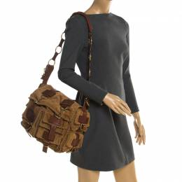 Saint Laurent Paris Brown Stitches Suede And Leather Shoulder Bag Yves Saint Laurent 196017