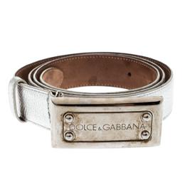 Dolce&Gabbana Silver Leather Belt 85CM 196618