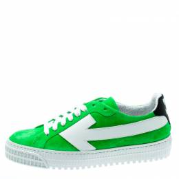 Off-White C/O Virgil Abloh Neon Green Suede Arrow Sneakers Size 36