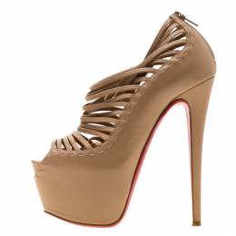 Christian Louboutin Beige Leather Zoulou Platform Peep Toe Cage Sandals Size 36.5 196037