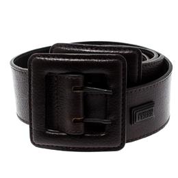 Gianfranco Ferre Dark Brown Leather Double Buckle Waist Belt 90CM 196858