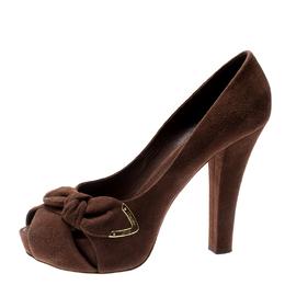 Louis Vuitton Brown Suede Catania Peep Toe Platform Pumps Size 40 196891