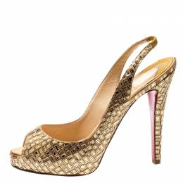 Christian Louboutin Metallic Gold Mirror And Satin Prive Mosaique Peep Toe Pump Size 41 196635