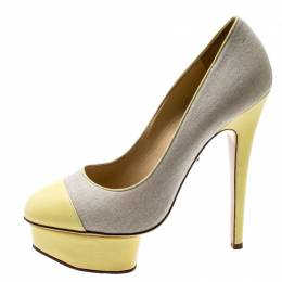 Charlotte Olympia Yellow Leather And Beige Canvas Dolly Platform Pumps Size 37.5 197104