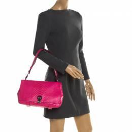 Proenza Schouler Dark Pink Python Courier Shoulder Bag 196859