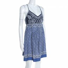 Chloe Blue and White Floral Printed Cotton Waist Tie Detail Dress M 197101