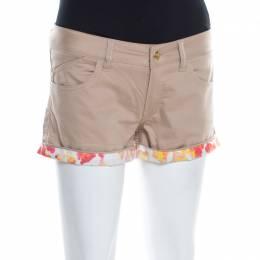 Just Cavalli Beige Stretch Cotton Contrast Cuff Detail Mini Shorts S 197401
