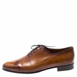 Berluti Cognac Brown Leather Signature Stitched Slash Oxfords Size 44 197428