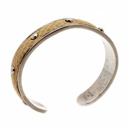Tod's Mustard Leather Studded Silver Tone Narrow Cuff Bracelet Tod's 197385