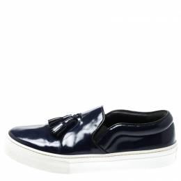 Celine Blue Leather Tassel Slip On Sneakers Size 38 198272