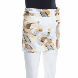 Roberto Cavalli White Denim Gold Chain Print Mini Skirt S 197391