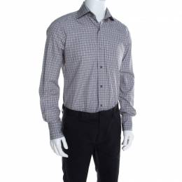 Tom Ford Brown and White Plaid Checked Cotton Long Sleeve Shirt M 197127
