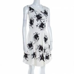 Alice + Olivia Monochrome Floral Sequined Silk Sleeveless Lillyanne Dress M 198327