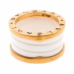 Bvlgari B.Zero1 4 Band White Ceramic 18k Rose Gold Ring Size 52 198261