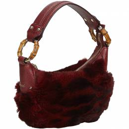Gucci Red Fur And Leather Bamboo Ring Hobo Bag 193621