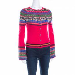 Matthew Williamson Pink Fair Isle Patterned Wool Button Front Cardigan S 198865