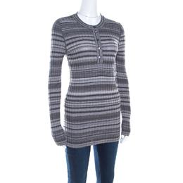 Dolce&Gabbana Grey Ribbed Knit Stripe Long Sleeve Sweater Top M 198878