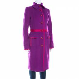 GF Ferre Purple Wool Button Front Long Coat S Gianfranco Ferre 198908