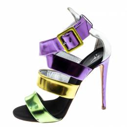 Giuseppe Zanotti Design Multicolor Mirror Leather Cross Strap Sandals Size 37.5 199048