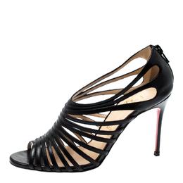 Christian Louboutin Black Leather Mul Tibrida Strappy Sandals Size 37 199074