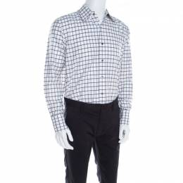 Tom Ford Brown and White Checked Cotton Long Sleeve Button Front Shirt XL 198770