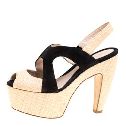Fendi Suede and Raffia Sligback Platform Sandals Size 36.5 150445