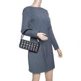 Chanel Black Jersey CC Pyramid Stud Flap Shoulder Bag 144859