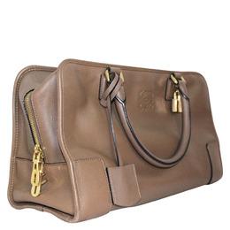 Loewe Taupe Leather Amazona 36 Satchel Bag