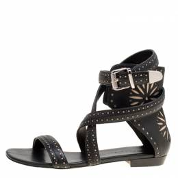 Barbara Bui Black Laser Cut Motif Perforated Leather Ankle Cuff Strappy Flat Sandals Size 37 170311
