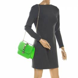 Valentino Neon Green Leather Rockstud Medium Glam Lock Flap Bag 198913