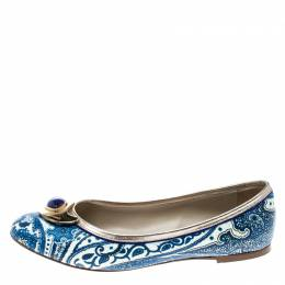 Etro Blue Paisley Printed Coated Canvas Embellished Ballet Flats Size 36.5 163590