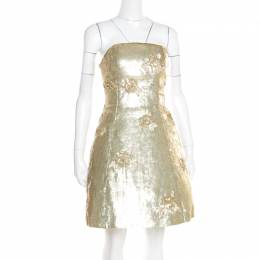 Oscar De La Renta Matte Gold Sequin Embellished Strapless Mini Dress S 180310