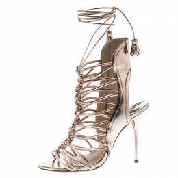 Sophia Webster Metallic Rose Gold Leather Lacey Tie Up Sandals Size 38 182303