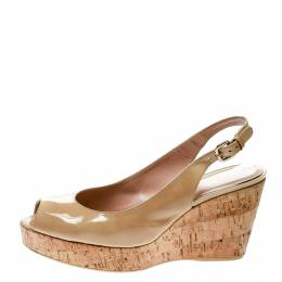 Stuart Weitzman Beige Patent Leather Jean Peep Toe Cork Wedge Slingback Sandals Size 41 174459