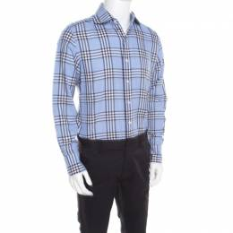 Tom Ford Blue Checked Cotton Long Sleeve Button Front Shirt XL 195463