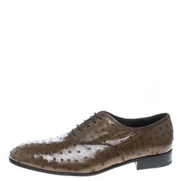 Salvatore Ferragamo Light Brown Ostrich Leather Gris Oxfords Size 44.5 160235