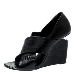 Alexander Wang Black Lizard Embossed Leather Cross Strap Wedge Sandals Size 39 199077