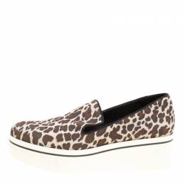 Stella McCartney Multicolor Leopard Print Canvas Platform Slip On Sneakers Size 38 155242