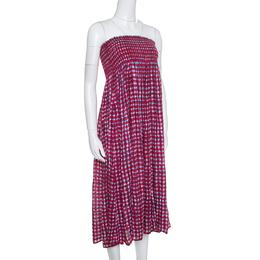 Tory Burch Pink Sonda Printed Smocked Bodice Maxi Dress S 154679