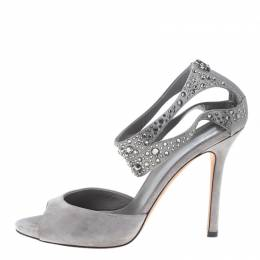 Gucci Grey Suede and Satin Crystal Embellished Ankle Strap Sandals Size 37.5 154334